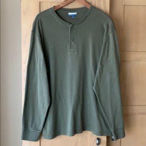 Breakwater Olive Green Henley Long Sleeve Tshirt L